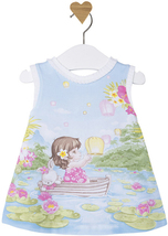 Mayoral Baby Girls 0M-12M Aqua Blue Bunny-Girl-Boat Novelty Print Knit Dress