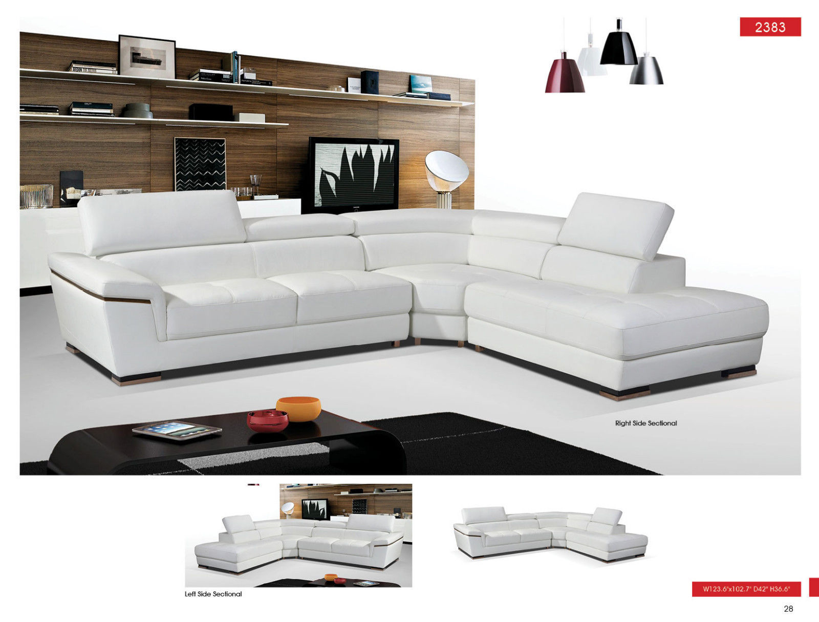 ESF 2383 Leather Sectional Sofa White Chic Contemporary Style Right Hand Facing