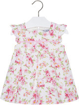 Mayoral Baby Girls 3M-24M Pink Floral Piqué Scallop Edge Box Pleat Social Dress