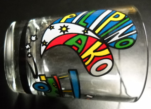 Pilipino Ako Shot Glass Brightly Colored Bus Stars and Print on Clear Glass