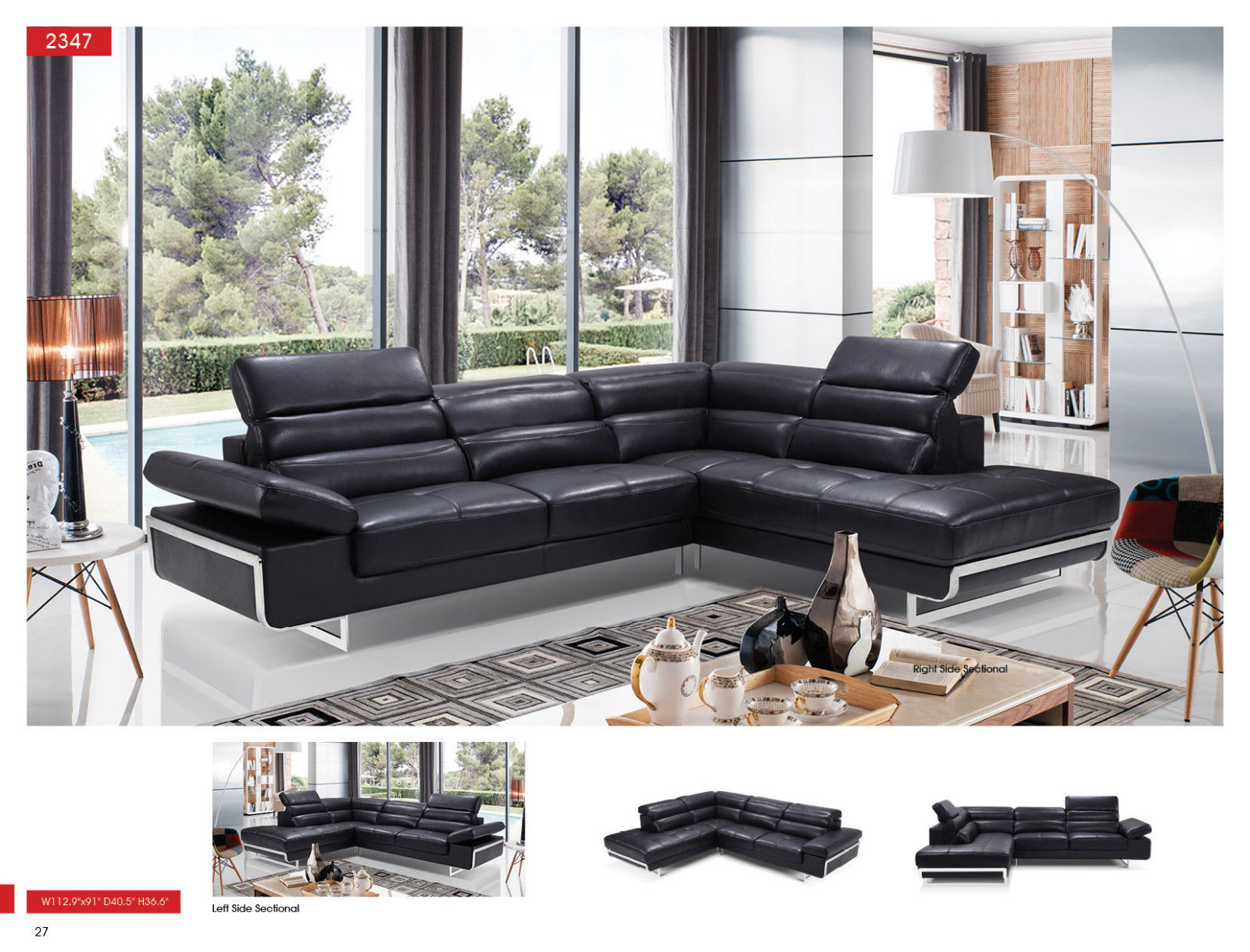 ESF 2347 Leather Sectional Sofa Black Chic Contemporary Style Right Hand Facing