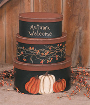 3B1214bm - Autumn Welcome set of 3 paper mache' - $21.95