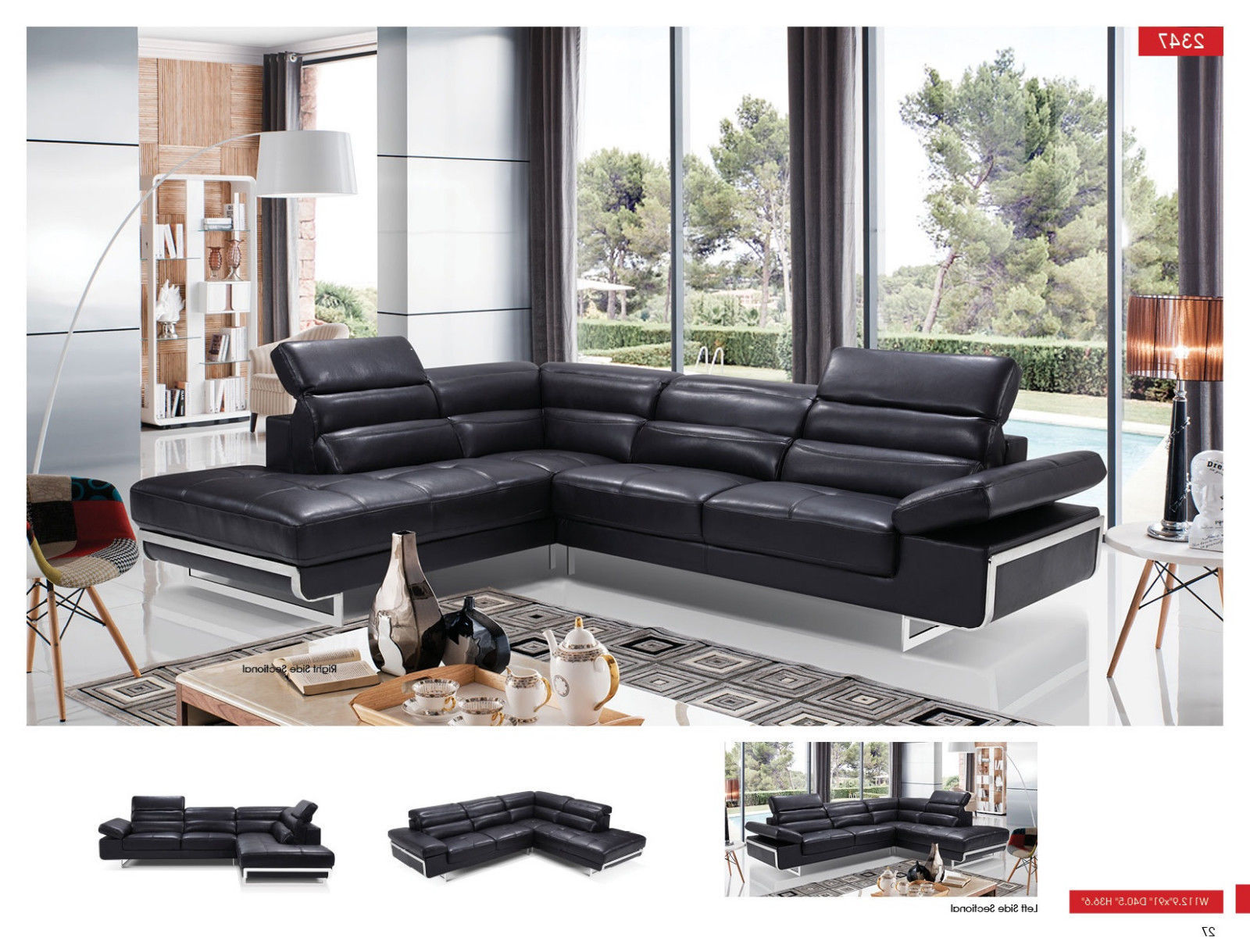 ESF 2347 Leather Sectional Sofa Black Chic Contemporary Style Left Hand Facing