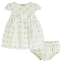 Mayoral Baby Girls 0M-12M Lime-Green White Gingham Organza Social Dress