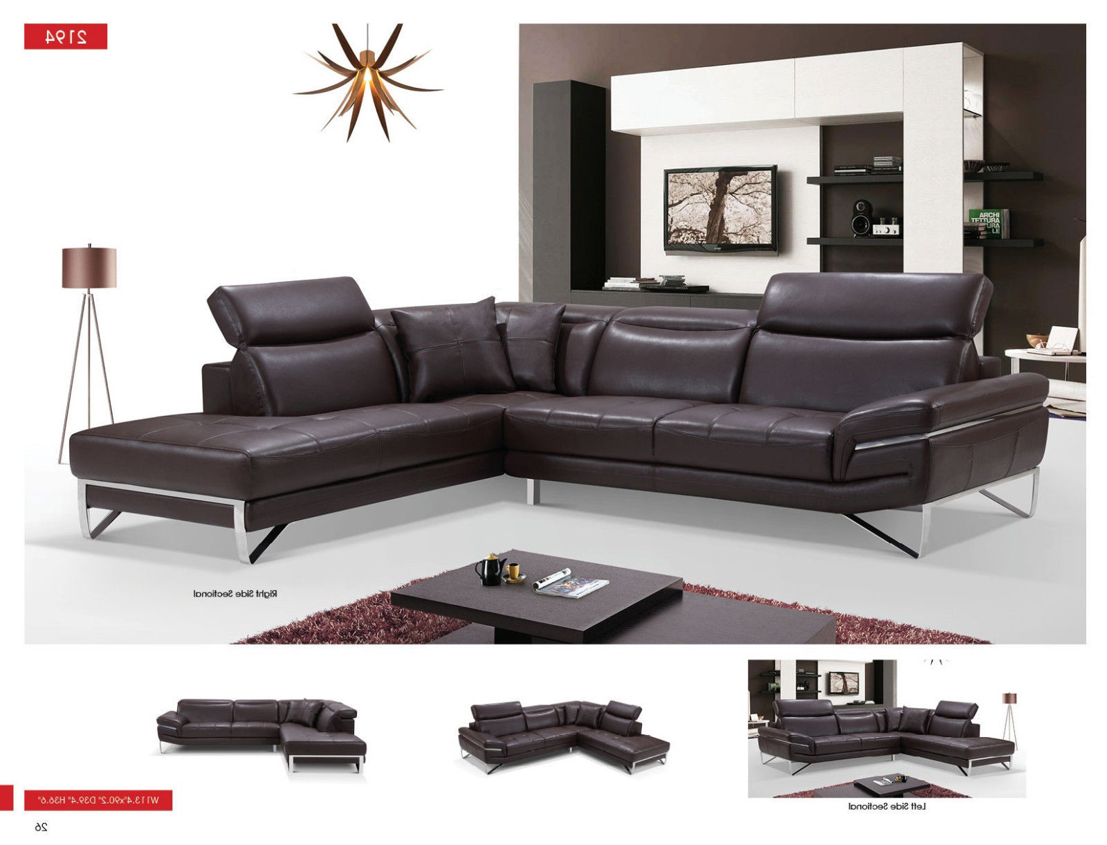 ESF 2194 Leather Sectional Sofa Brown Chic Contemporary Modern Left Hand Facing