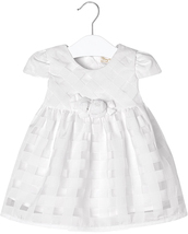 Mayoral Baby Girls 0M-12M Ivory White White Gingham Organza Social Dress