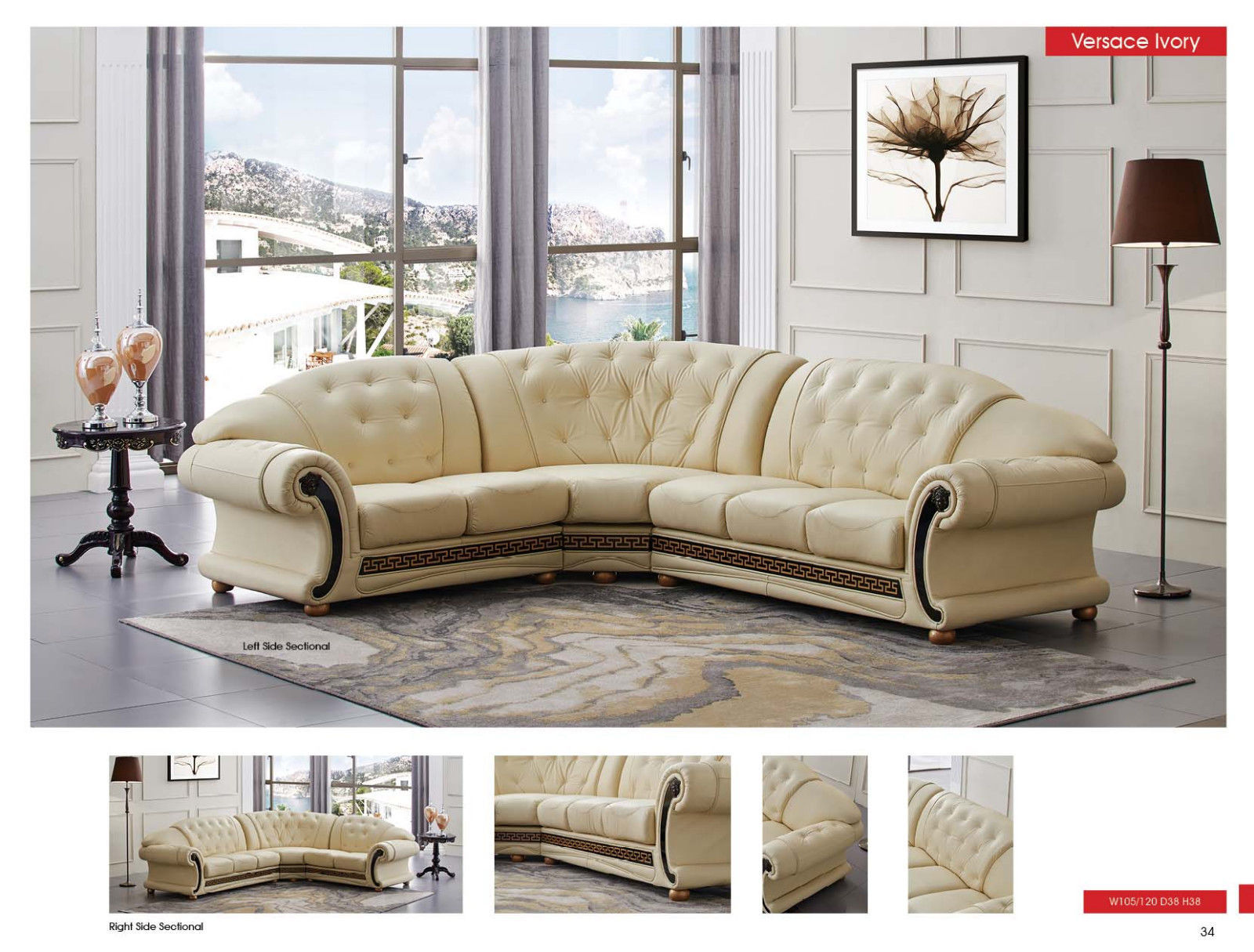 ESF Versachi Leather Sectional Sofa Beige Classic Traditional Right Hand Facing