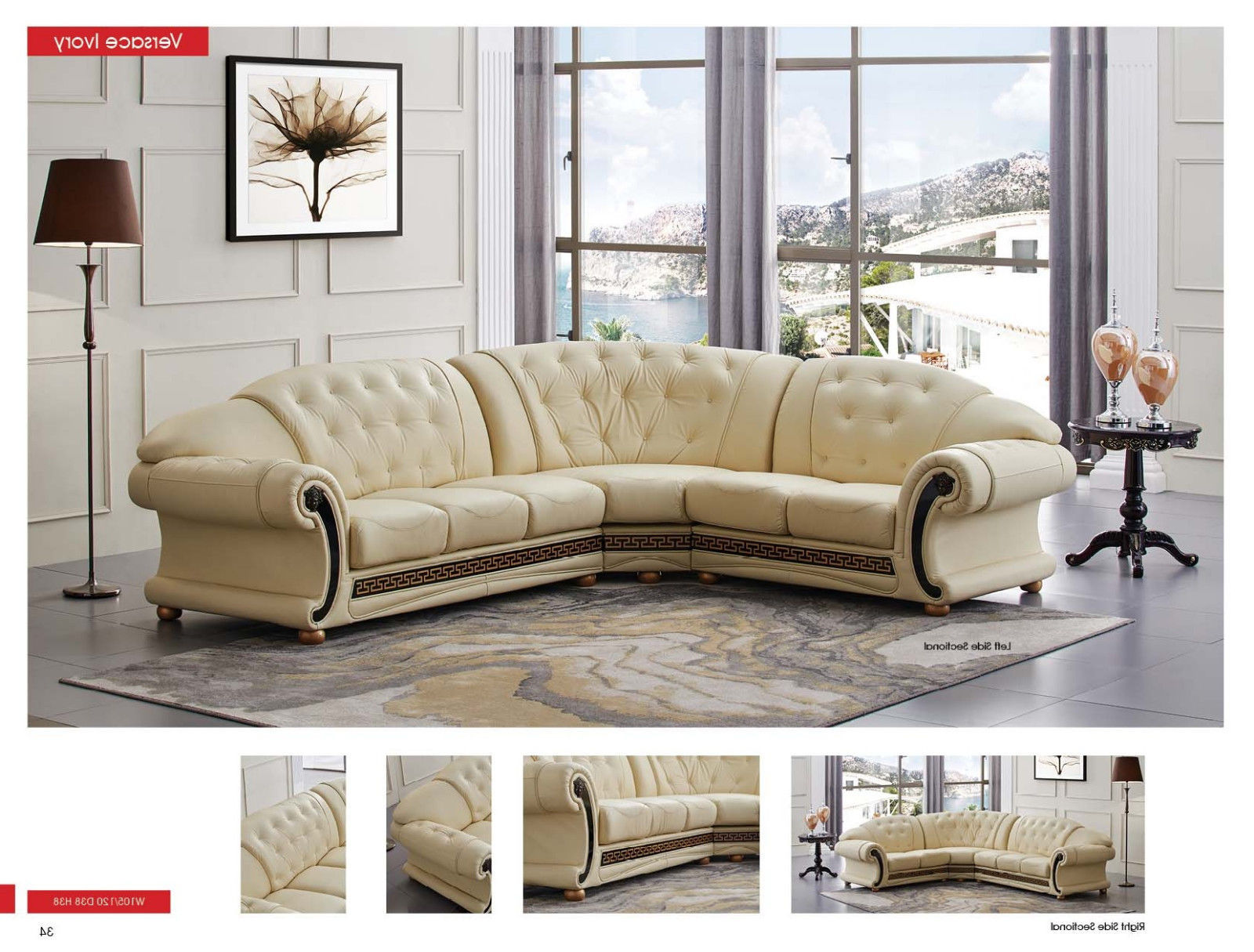 ESF Versachi Leather Sectional Sofa Beige Classic Traditional Left Hand Facing
