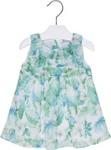 Mayoral Baby Girls 3M-24M Apple-Green White Ruffley Floral Chiffon Social Dress