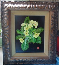 "small oil painting chunky wood frame yeloow primroses signed H/Zana 9.5""... - $445.00"