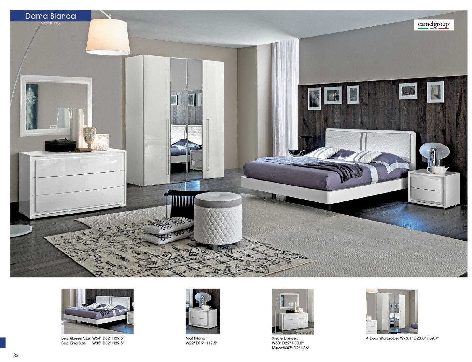 ESF Dama Bianca King Size Bedroom Set 5pc. Chic Contemporary Modern Style
