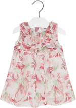 Mayoral Baby Girls 3M-24M Nude-Pink White Ruffley Floral Chiffon Social Dress