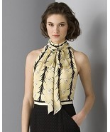MILLY LILY STRIPE TIE NECK BLOUSE - US 12 - UK 16 - $145.00