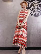 PF056 elegant sleeveless long dress w printng, Size s-l, orange - $28.80