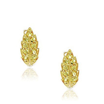 14K YG Covered 925 Silver November Yellow Canary Leaf Clip-On Leverback Earrings - $33.64