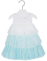 Mayoral Baby Girls 3M-24M Aquamarine White Colorblock Tiers Chiffon Social Dress