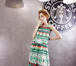 PF056 elegant sleeveless long dress w printng, Size s-l, green - $28.80