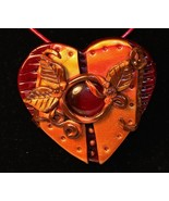 Polymer Clay Heart Pendant with Ruby glass cent... - $24.99