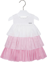 Mayoral Baby Girls 3M-24M Rose Pink White Colorblock Tiers Chiffon Social Dress