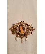 Art Signed Art Mode Victorian Figural Pearl Da... - $28.00