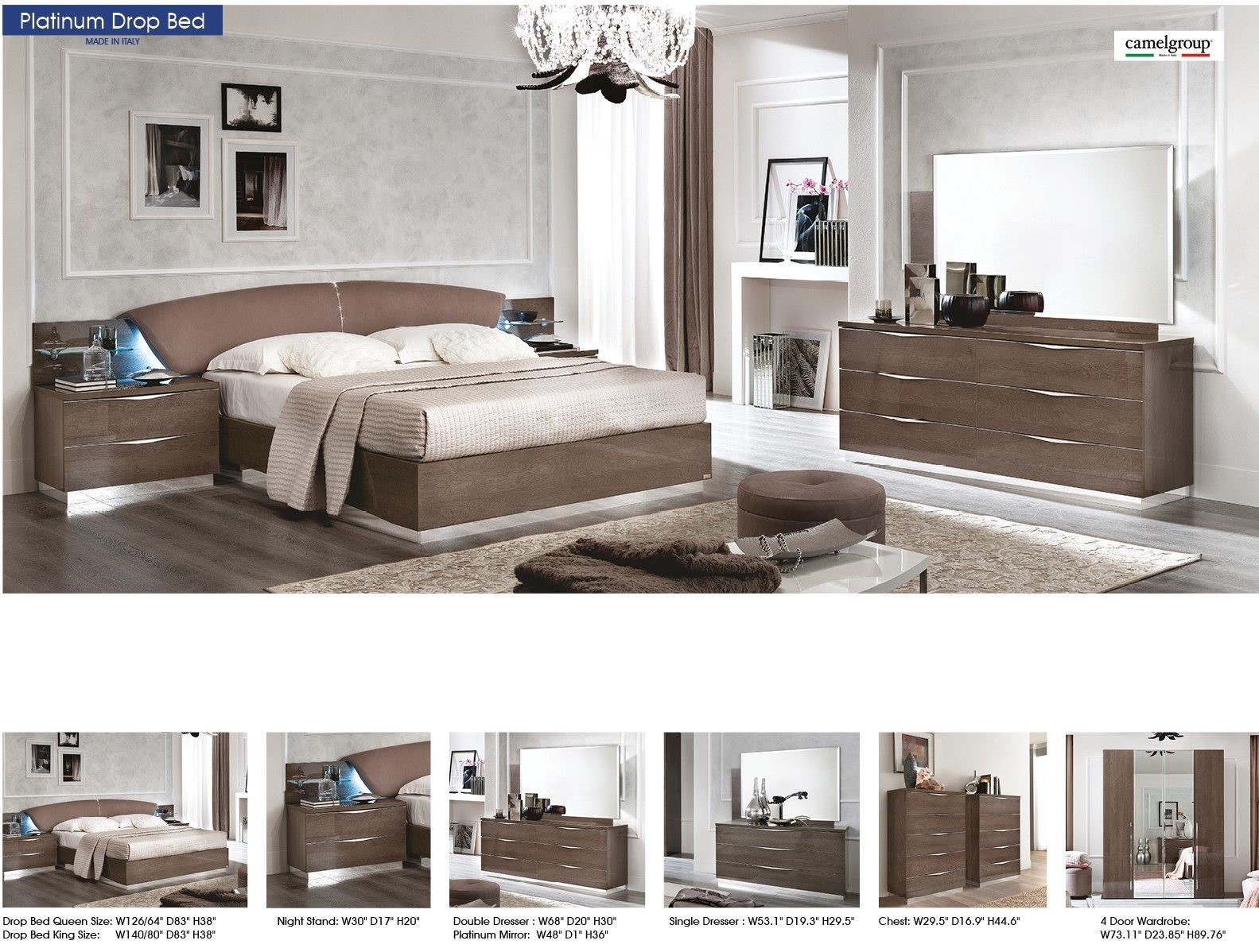 ESF Platinum Drop King Size Bedroom Set 5pc. Chic Contemporary Modern Style