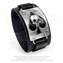 Ace Of Dead Spades Black Leather Wrist Strap Urban Bracelet ULA1 by Alch... - $33.50