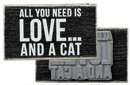 "All You Need is Love and a Cat Box Sign Stamp Primitives by Kathy 2.75"" ... - $9.99"