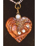 Polymer Clay Heart Pendant with swarovski cryst... - $21.99