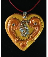 Polymer Clay Heart Pendant with Swarovski Cryst... - $24.99