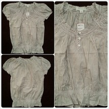 Forever 21 Ladies Womens short sleeve Tan White pin stripe BlouseTop Sz S/P NWT - $10.05