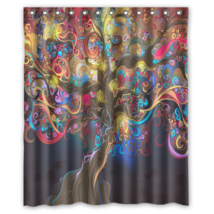 Abstract Tree Psychedelic #05 Shower Curtain Waterproof Made From Polyester - $29.07+