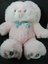 MTY Large Pink Plush Bunny Rabbit Satin bow Pastel Colorful Rainbow Feet... - $49.49