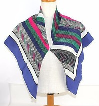Claudia 100% Pure SILK LARGE SCARF Navy Based Multi-Color Made Italia 83✖85 - $69.30