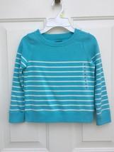 NWT $30 GAP Kids Girls Blue Stripe Fleece Pullover Sweatshirt Sweater XS... - $15.83