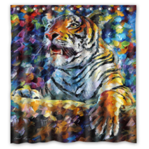 Abstract Tiger Psychedelic #11 Shower Curtain Waterproof Made From Polyester image 1