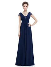 Navy Blue V Neck Chiffon Prom Dress With Ruching In Waist - $100.00