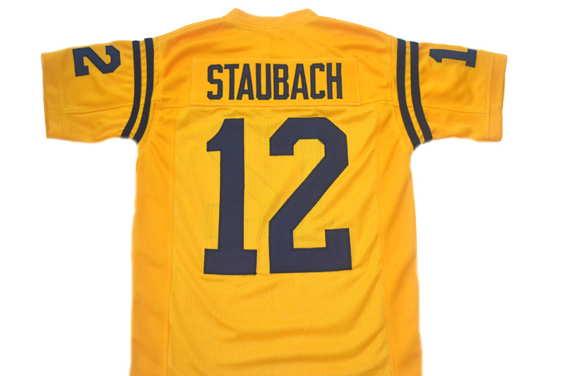 Roger Staubach #12 Navy New Men Football Jersey Yellow Any Size