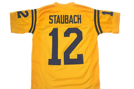 Roger Staubach #12 Navy New Men Football Jersey Yellow Any Size image 4