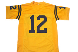 Roger Staubach #12 Navy New Men Football Jersey Yellow Any Size image 5