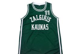 Arvydas Sabonis #11 Zalgiris Kaunas Lithuania Basketball Jersey Green Any Size image 4