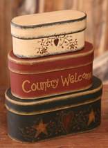 3B1321 - Country Welcome Boxes set of 3 Paper Mache' - $14.95