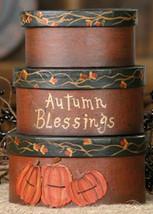3B1232bm - Autumn Blessings Pumpkin set of 3 paper mache' - $11.95
