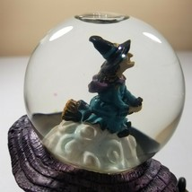 Halloween snowglobe witch on broom black cat haunted shoe house figurine... - $32.62