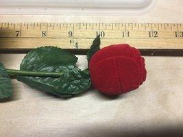 Vintage Clear Rhinestone Stud Earrings in Red Flocked Long Stem Rose Gift Box image 11