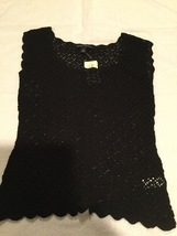 Banana Republic Black Sweater Crochet Sleeveless Top Small New with Tag - $42.78
