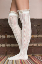 60cm Crochet Lace Trim Cotton Knit Leg Warmers Buttons Knee High Boot Socks - $13.00