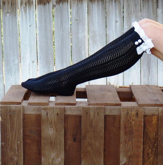 60cm Crochet Lace Trim Cotton Knit Leg Warmers Buttons Knee High Boot Socks