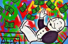 "Alec Monopoly Print on Canvas Urban art wall decor Rich man 28x40"" - $35.63"
