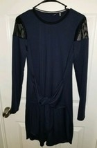 Elie Tahari Sport Small Dress Navy Blue Front Tie Long Sleeve Net Rayon Athletic - $35.88