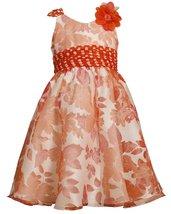 Bonnie Jean Little Girls 2T-6X Orange Ivory Burnout Floral Social Dress